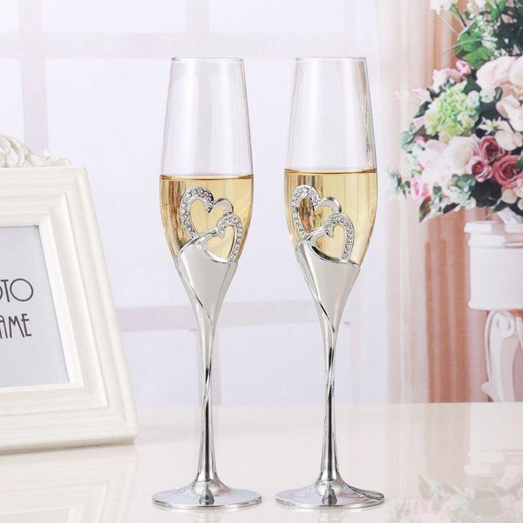 Crystal Wedding Toasting Flutes Crystal Jewel Beautiful Glassware Silver