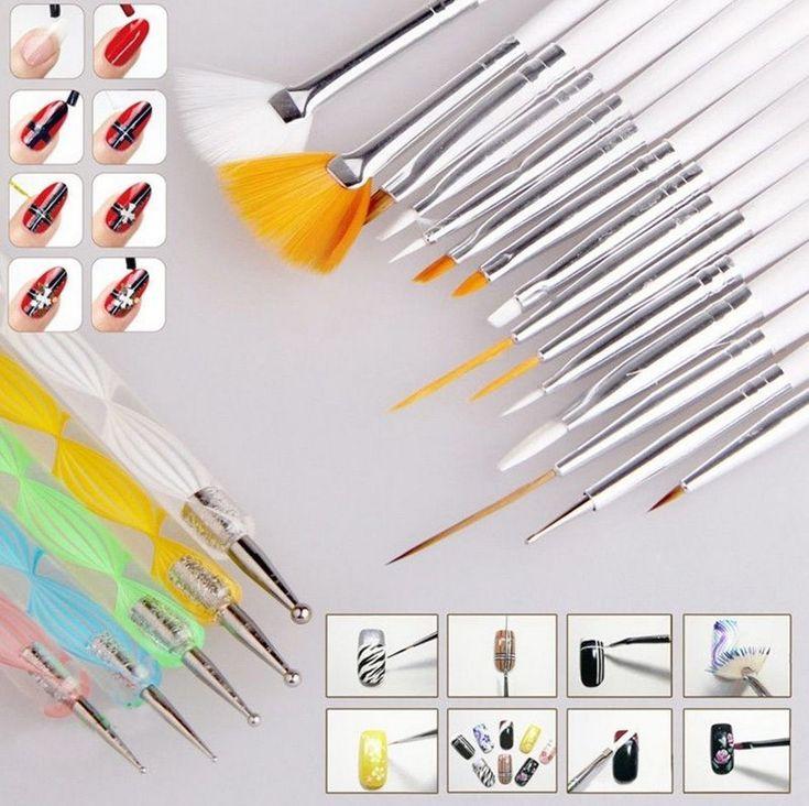 20 stücke Nail art DIY Design Set Punktierung Malerei Zeichnung Polnisch-bürsten-feder Kosmetik Nagellack Kunst Pinsel Werkzeuge