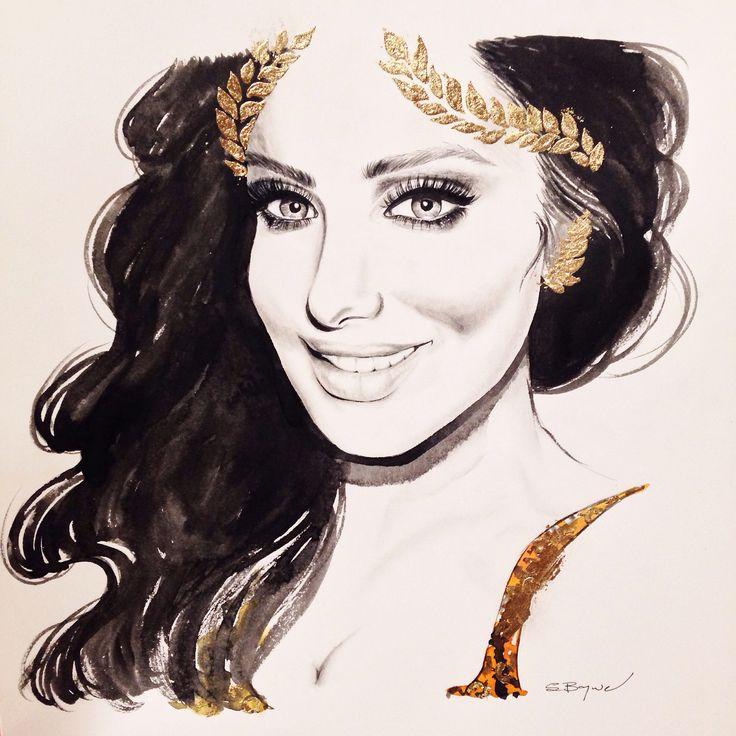 Huda Kattan fashion illustration by Stephanie Baynie @stephbaynie