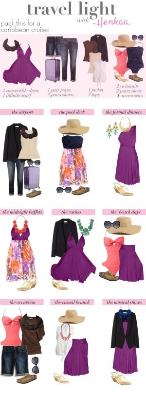 Travel Light with the ultimate Caribbean cruise packing list! Pick your own color palette & pack only these convertible pieces and basics and you'll have everything you need for a sun soaked getaway. by madelinem