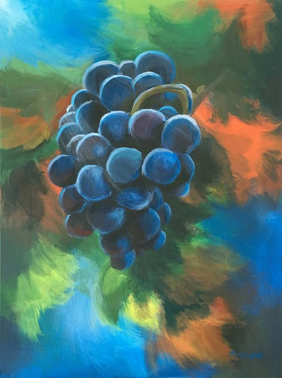 Autumn Grapes  Original acrylic painting on canvas. Signed.