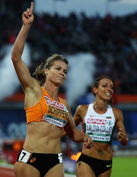 Dafne Schippers of the Netherlands celebrates winning the Womens 100m Final during day three of the 23rd European Athletics Championships at Olympic Stadium on July 8, 2016 in Amsterdam, Netherlands.