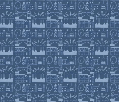 London Skyline Blue fabric by clementine