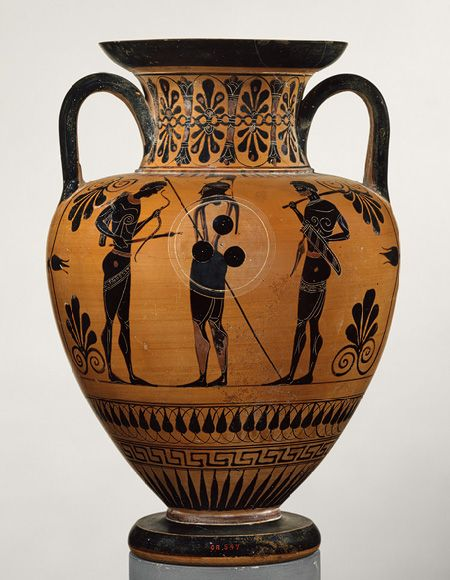 Neck-amphora (jar) [Greek, Attributed to an artist near Exekias] (98.8.13) | Heilbrunn Timeline of Art History | The Metropolitan Museum of Art