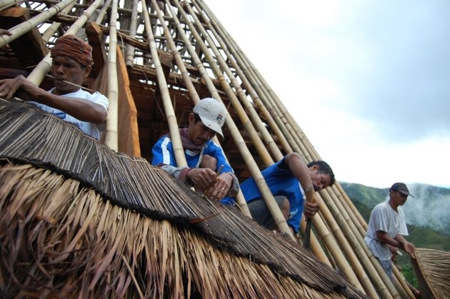 Thatching of traditional home in the village of Wae Rebo, Island of Flores, Indonesia