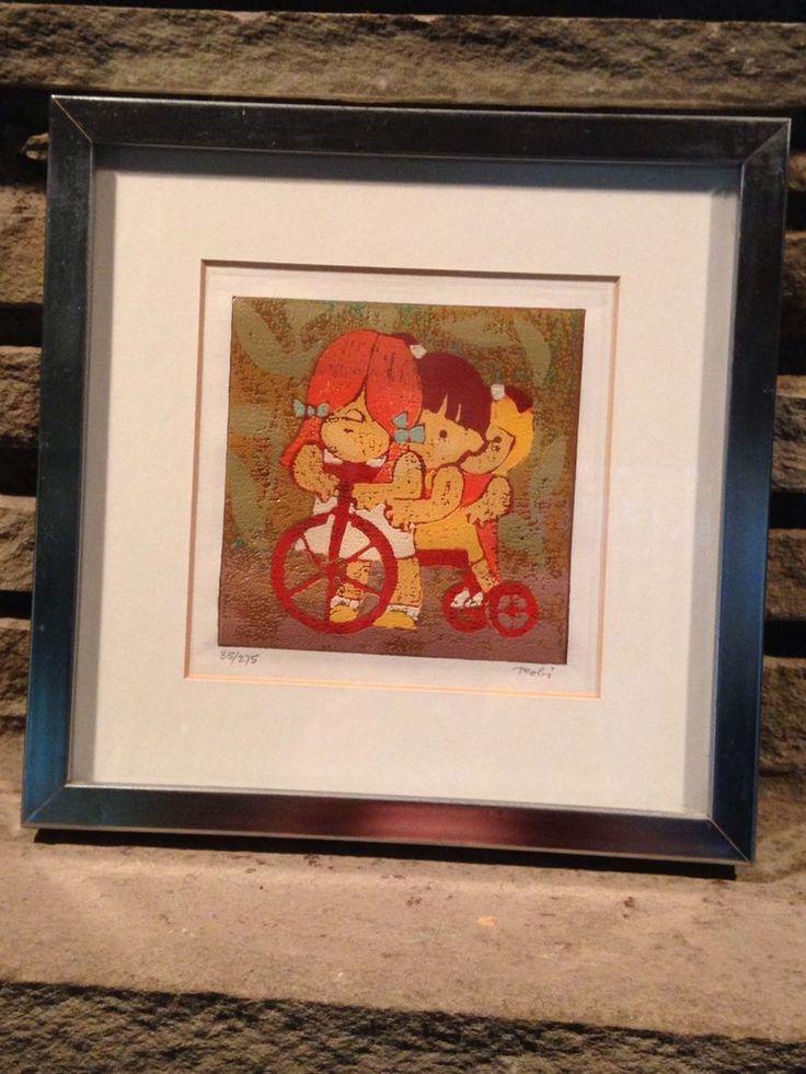 Al Robi Linocut Signed Print Children on Bike Elvin Robichaud