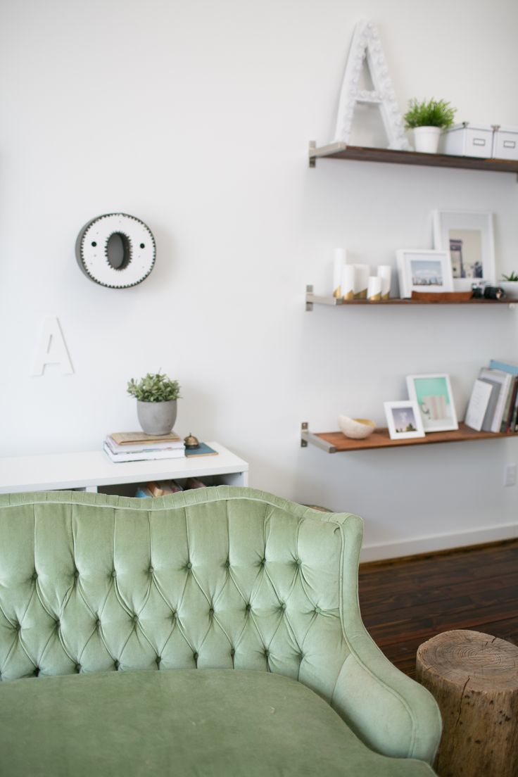 Living room colors green couch - Ashley Rose S Houston Townhouse Tour Living Room Shelving Eclectic Green Couch