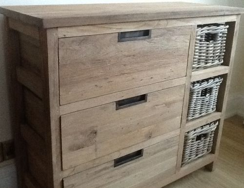 Reclaimed Teak Storage Unit Storage Chest With 3 Drawers