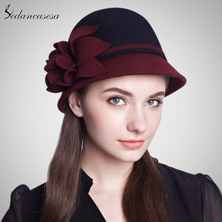 100% Wool From Australian Fedora Hat Multi-color Women Fashion Hat Personality Felt Basin Hat Flower Round Brim Hat FW014041