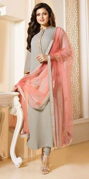 Dazzle Cream And Pink Georgette Straight Suit.