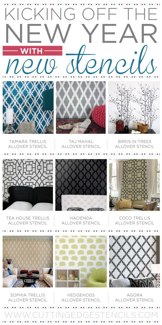 Cutting Edge Stencils introduces NEW wall stencil designs! http://www.cuttingedgestencils.com/wall-stencils-stencil-designs.html