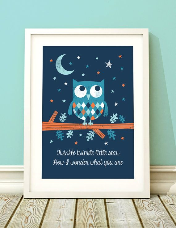 Nursery art boy owl nursery print owl nursery by BubbleGumYears, £10.49