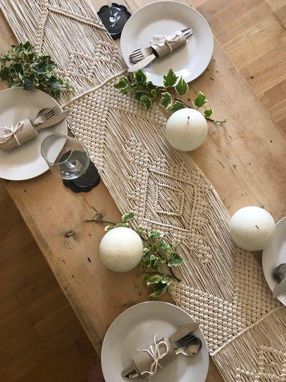 Makramee Tischläufer / handgemachte Hochzeit Dekor / Boho Chic / aztekische böhmische / Cot …   – Bobella Products.