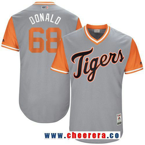 Men's Detroit Tigers Daniel Stumpf -Donald- Majestic Gray 2017 Little League World Series Players Weekend Stitched Nickname Jersey