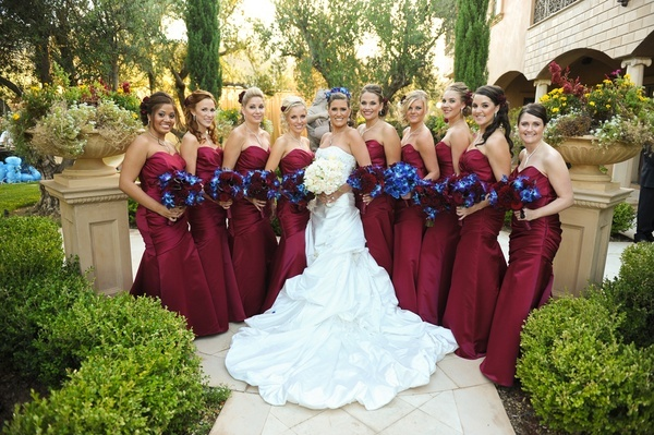 What Colours Not To Wear To A Wedding: Maroon Color For The Bridesmaids Dresses.... Not The Blue