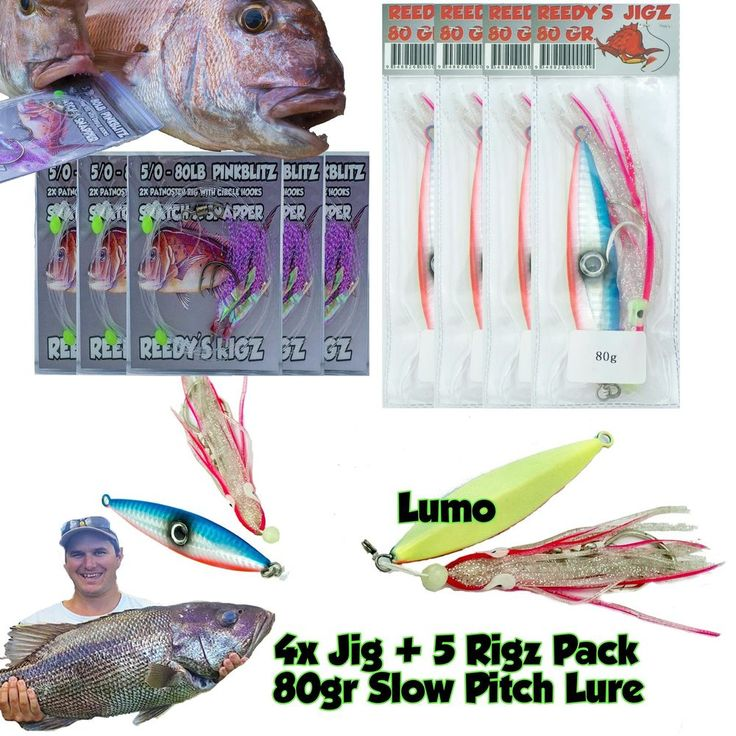 4 Micro Jig 80gr Slow Pitch 5-0 Rig Pack Flasher Rigs Snapper Slow Pitch Fishing