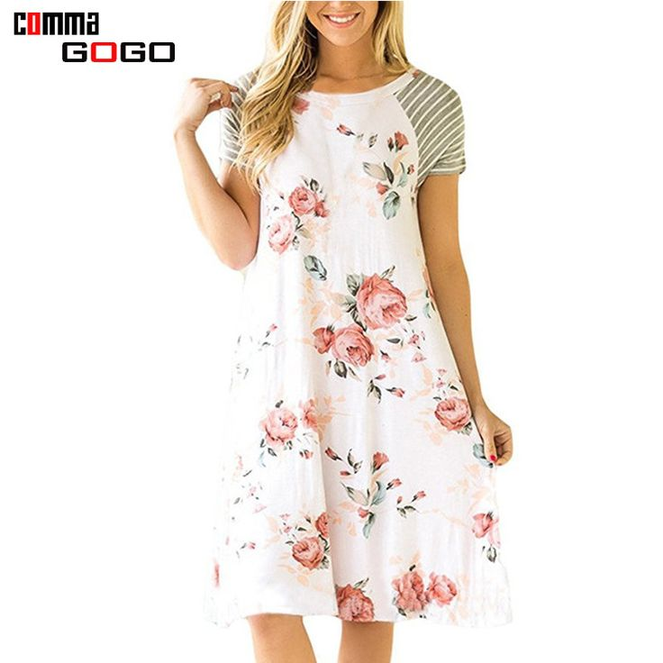 >> Click to Buy << Patchwork Floral Print Dress Women Casual Short Sleeve Midi Dress White Female O Neck A Line Cute Dresses for Woman 2017 Summer #Affiliate