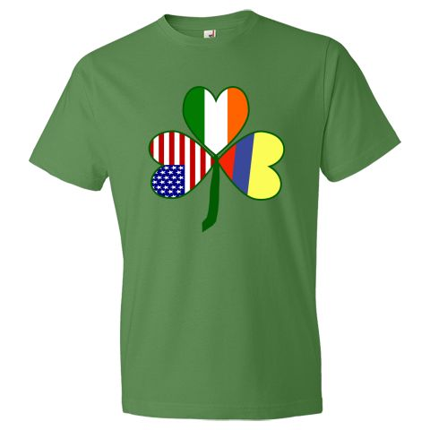 Really fun design helps you celebrate all your heritages on St. Patrick's Day, 4th of July and Colombian holidays. Features a shamrock with flags of three countries for leaves: Colombia, USA and Ireland. $27.99 ink.flagnation.com
