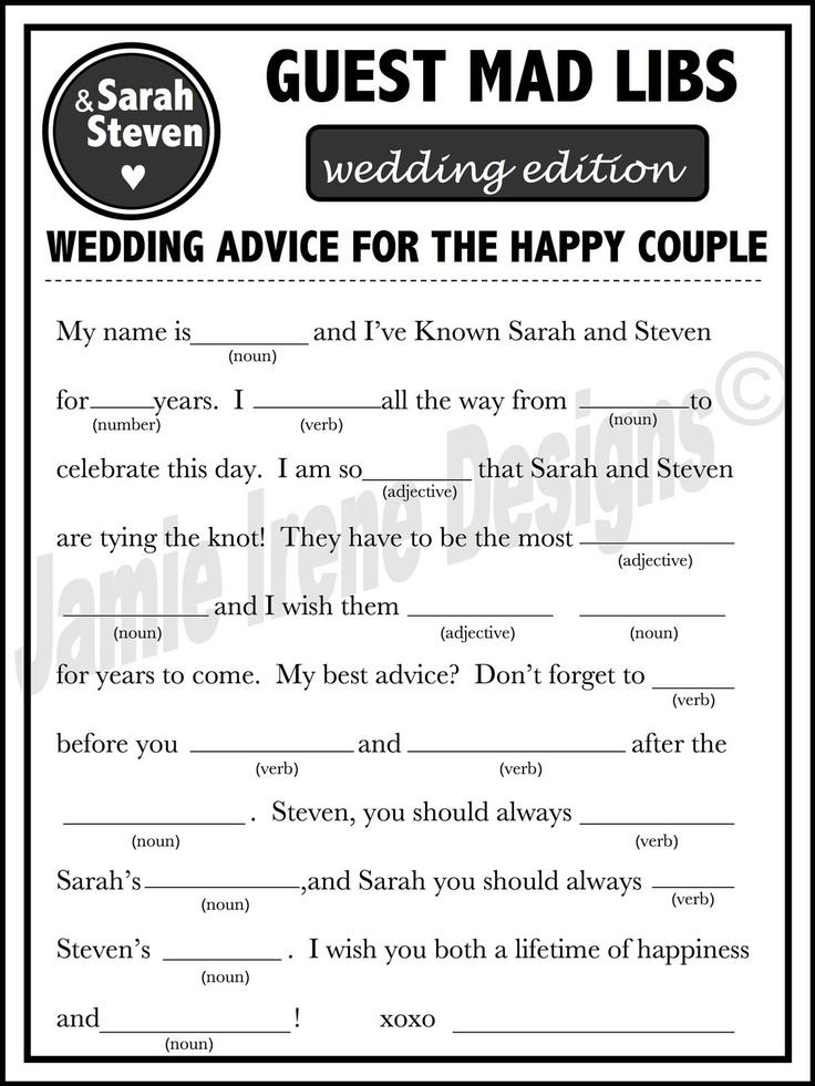 Printable Wedding Mad Libs A Fun Guest Book Alternative