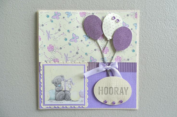 Teddy bear first birthday card with balloons in lavendar and yellow - 1st birthday card for girls - Hooray 1st birthday card pastel colors by prettypapernz on Etsy