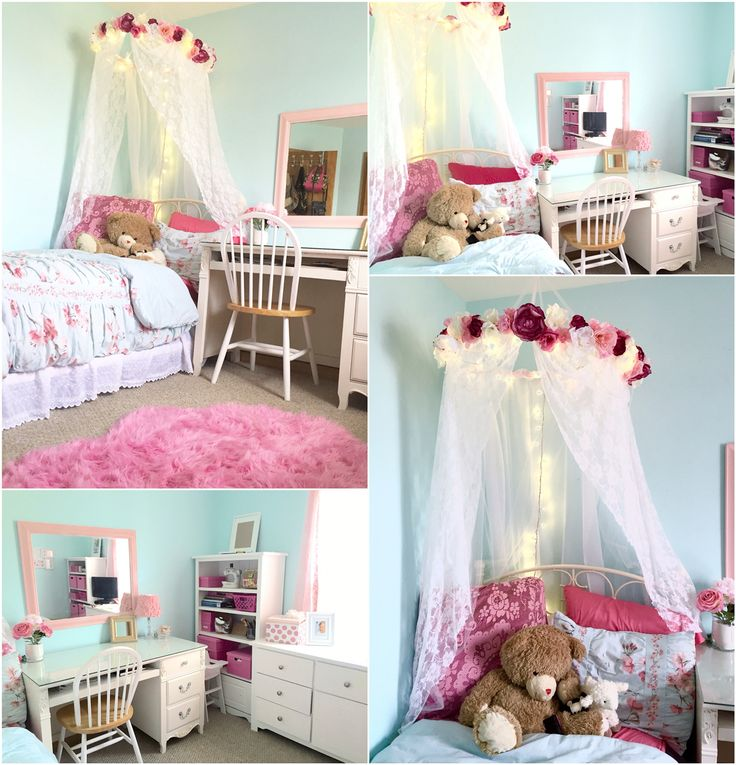 Diy Shabby Chic Bedroom: Pink And Blue Girl's Room With Canopy And Tree Mural. Tiny