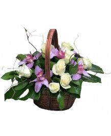 Cosuri de flori Cos orhidee si trandafiri albi
