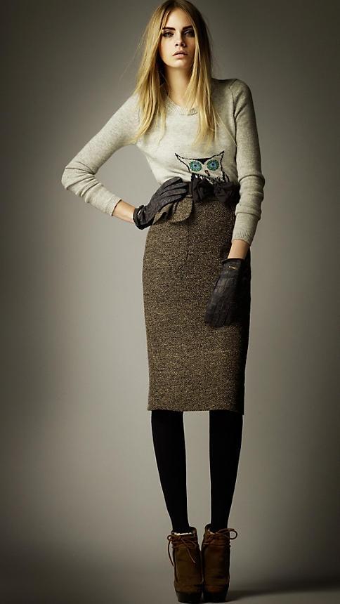 Burberry A/W12 Tweed Peplum Pocket Skirt: Near Fal 2012, Graphics Tees, Prorsum Pre Fal, Delevingne Face, Owl, Burberry Prorsum, Pencil Skirts, Caradelevingne, Prefal