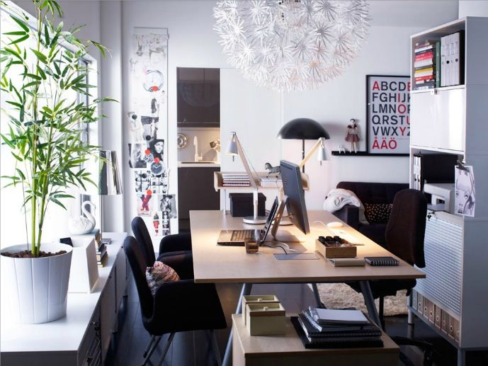 Scandinavian white red home office space: Interior, Ideas, Office Designs, Workspace, Homes, Home Offices