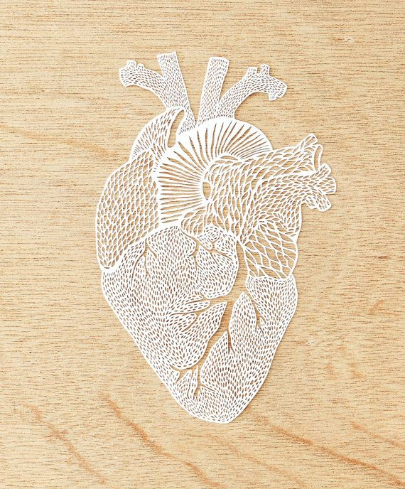 Mano-cortó Papercutting arte corazón anatómico por lightpaper