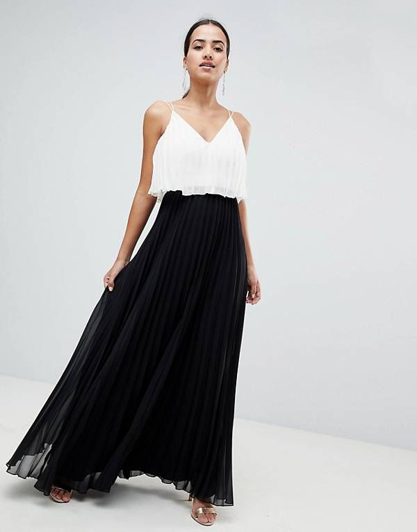 6811703999a6 ASOS DESIGN crop top midi dress in pleated color block | asos in ...
