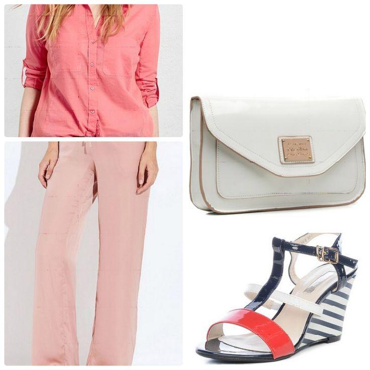 Брюки-палаццо, персиковая рубашка, белая сумка, босоножки в морском стиле
