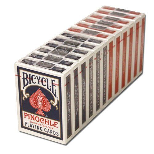 12 Decks Bicycle Pinochle Cards (6 Red / 6 Blue). Best value: 12 decks (6 red, 6 blue) of plastic-coated Bicycle Pinochle cards. Plastic-coated cards last longer than plain paper. Special 48-card Pinochle breakout. Pinochle decks come A-9, four suits, with 2 of each card in a suit. Often compared to bridge and chess, Pinochle rewards the player who can leap on opportunities and is unafraid of risk.