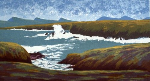 Aidan Flanagan: Three Sisters View, Dingle Peninsula, screenprint,  €220 @ www.inisink.ie