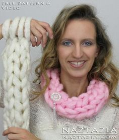 Learn How To - Arm Knitting Scarf and Finger Knitting Scarf Easy Basic Simple Knit Infinity Scarf Cowl Free Pattern and YouTube Video by Naztazia
