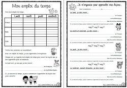Emploi du temps pour les élèves, gérer devoirs leçons, cycle3, CE2, CM1,CM2