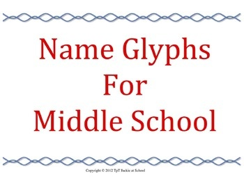 """Name Glyphs for Middle School The word glyph means """"a hieroglyphic character or symbol; a pictograph."""" This activity has students decorate their name using a glyph chart. The graphic symbols that the students put inside the letters of their names tell the story of who they are."""