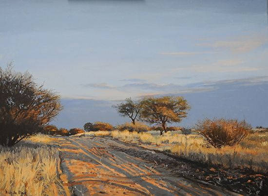 Kalahari sunset by Rika De Klerk Oil ~ x