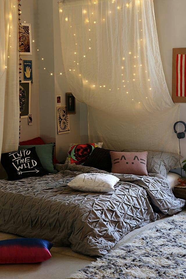 Cosmic.Cushions.Fairy lights canopy