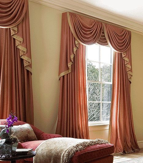 Luxury orange curtains drapes and window treatments for Window design with curtains