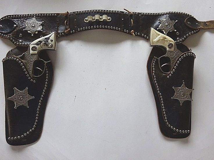 Hubley Vintage Toy Texan Cap Gun and Double Holster Belt 1950's  #Hubley