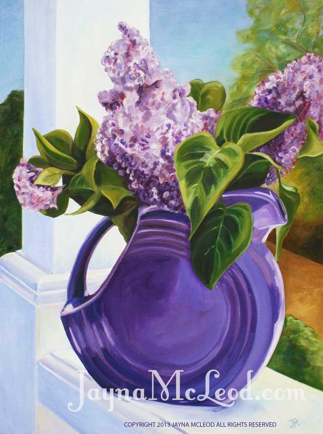 Lilacs in a purple pitcher.