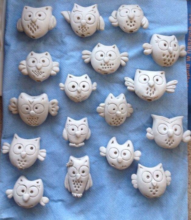 ceramics owls beads