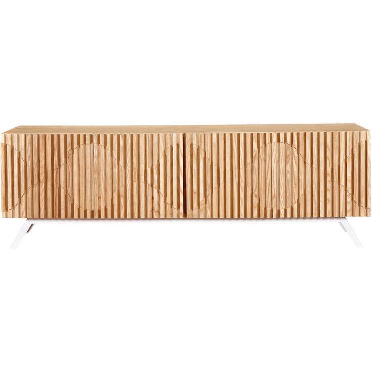 NyeKoncept Oskar Vertical Slat Sideboard / Buffet w/ Stainless Steel Legs &  Natural Wood