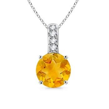 Angara Pear Drop Citrine and Diamond Pendant in Yellow Gold NiQO0Jjrvg