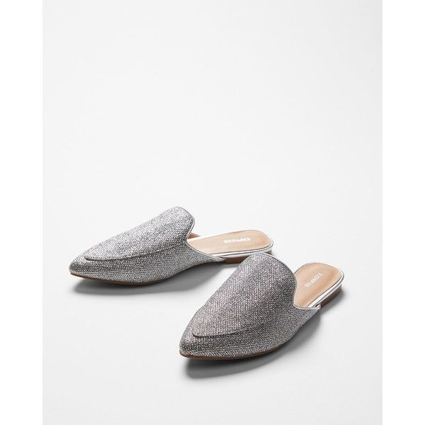 Express Glitz Slide Loafers ($22) ❤ liked on Polyvore featuring shoes, loafers, silver, silver glitter flats, slip on flats, metallic flats, slip-on shoes and silver flat shoes