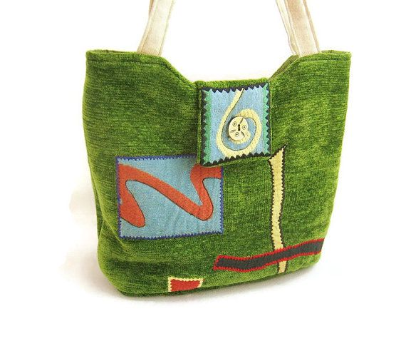 Handmade Fabric Purse with Funky Decorative by GrannyBeansBoutique