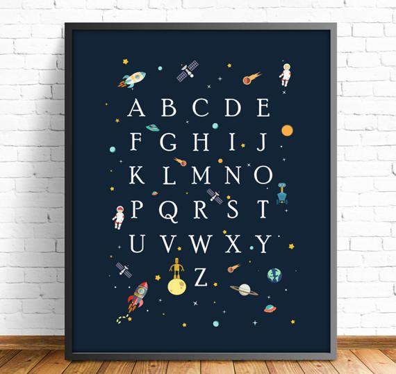 Abecedario infantil, abecedario espacio,lamina espacio,lamina cohete,laminas imprimibles,lamina luna,cuadro espacio,4 TAMAÑOS INCLUIDOS