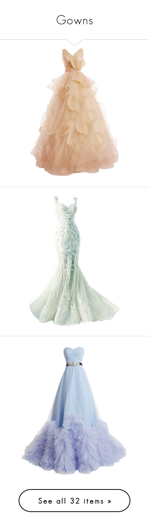 """Gowns"" by silverrise ❤ liked on Polyvore featuring dresses, gowns, vestidos, long dresses, long prom gowns, lace gown, lace dress, lace evening gowns, prom dresses and dolls"