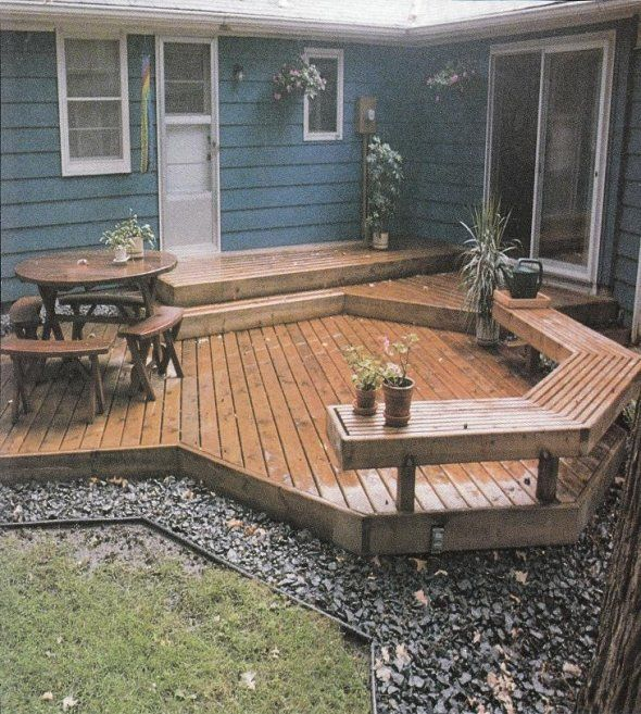 Nice deck for small backyard yard ideas pinterest for Small deck seating ideas