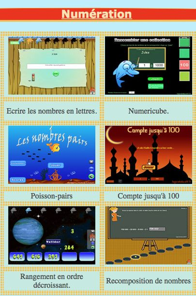 Math games in French